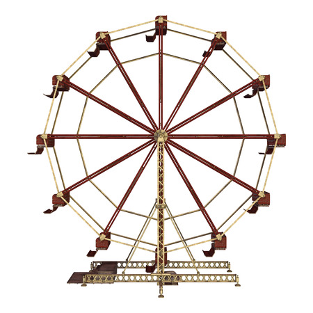 3D digital render of a vintage ferris wheel isolated on white background