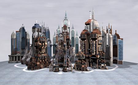 3D 디지털 회색 하늘 배경에 sience 소설 미래의 도시 렌더링