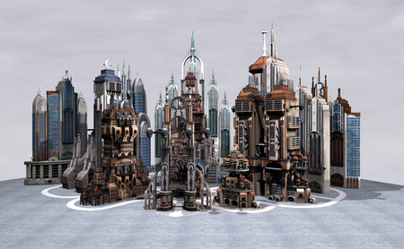 3D digital render of a sience fiction futuristic city on a grey sky background