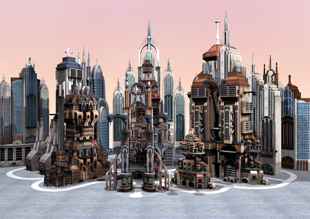 3D digital render of a science fiction futuristic city on grey sky background