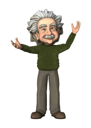 3D digitaal maken van een cartoon wetenschapper op een witte achtergrond Stockfoto