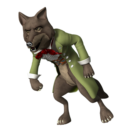 3D digital render of a fairytale wolf isolated on white background Stock Photo