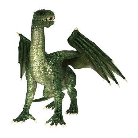 3D digital render of a green evil fairytale dragon isolated on white background Standard-Bild