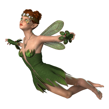 3D digital render of a spring fairy isolated on white background