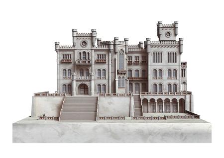 3D digitale render van een sprookjesachtig kasteel geïsoleerd op een witte achtergrond
