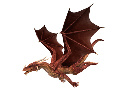 3D digital render of a red fantasy dragon flying isolated on white background Imagens