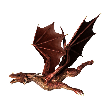 3D Illustration of a red fantasy dragon isolated on white background Фото со стока