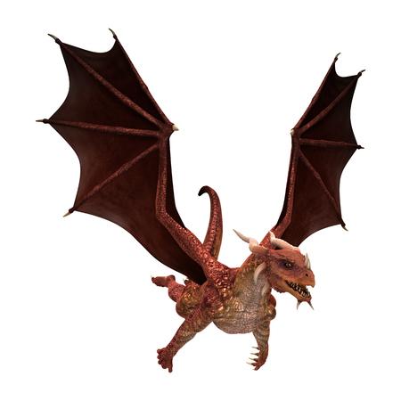 3D-afbeelding van een rode fantasie draak op een witte achtergrond Stockfoto