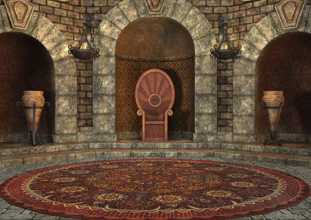 3D rendering of a fairy tale throne room