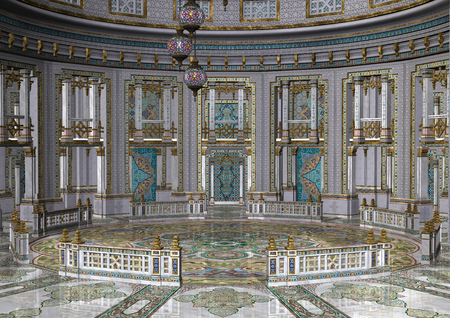 3D rendering of a fairytale oriental palace