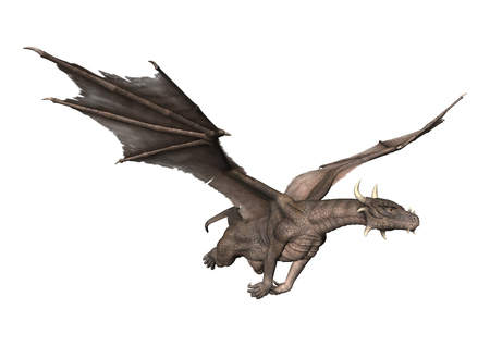 3D rendering of a fantasy dragon flying isolated on white background Imagens