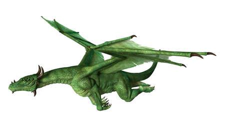 白い背景に分離されたファンタジー ドラゴンの 3 D レンダリング 写真素材