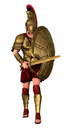 3D rendering of an ancient Greek soldier isolated on white background 版權商用圖片
