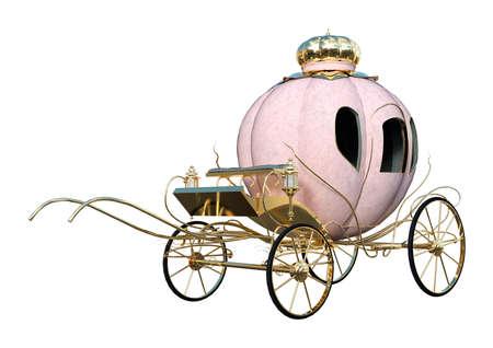 3D weergave van een Cinderella wagen op een witte achtergrond
