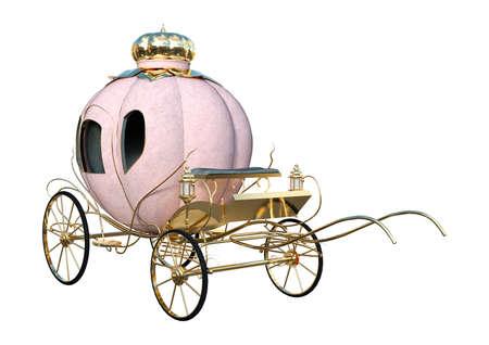 Rendering 3D di una carrozza di Cenerentola isolato su sfondo bianco Archivio Fotografico