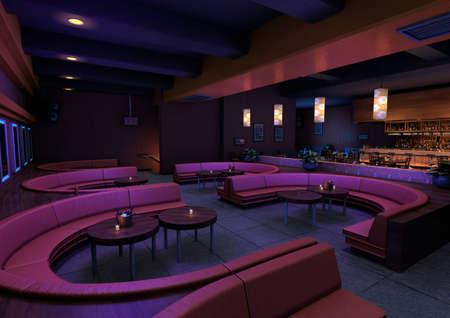 3D rendering of a luxury night lounge bar in a purple light 版權商用圖片