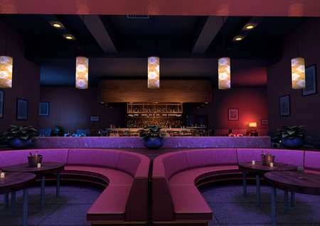 3D-weergave van een luxe nacht lounge bar in een paars licht