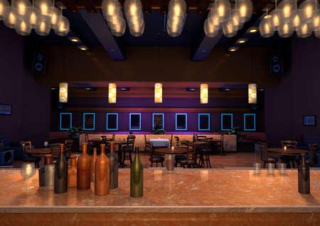 3D-weergave van een luxe nacht lounge bar