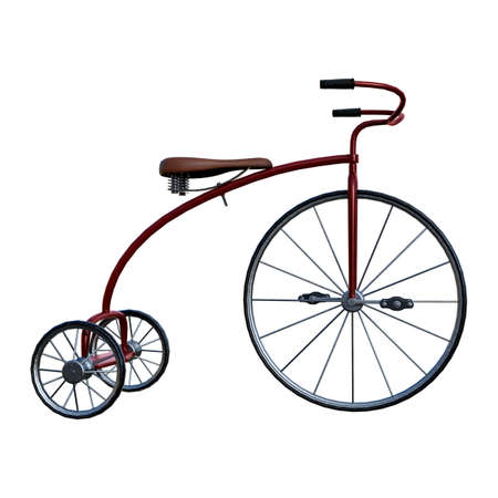 3D rendering of a retro tricycle isolated on white background