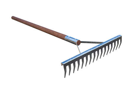 3D rendering of a rake isolated on white background