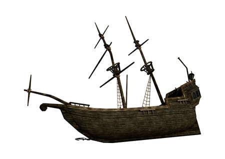 Representación 3D de una ruina de la nave aislada en el fondo blanco Foto de archivo - 71568961