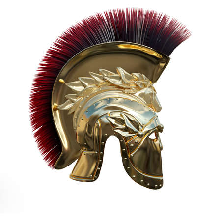 3D rendering of an ancient Greek helmet isolated on white background