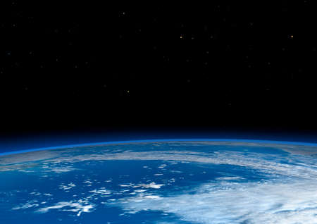 3D rendering of a blue planet Earth in outer space Stock Photo