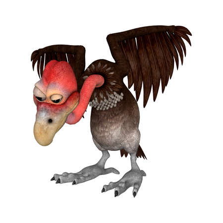 3D rendering of a cartoon vulture isolated on white background Stock Photo - 77256205