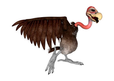 3D rendering of a cartoon vulture isolated on white background Stock Photo