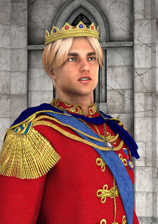3D rendering of a handsome fairy tale prince on a background of a fantasy castle Stok Fotoğraf - 81860170