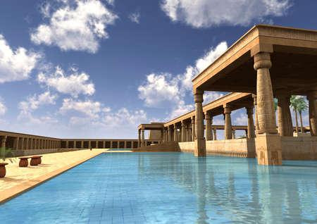 Rendu 3D d'un ancien palais égyptien avec piscine, journée ensoleillée Banque d'images - 82029936