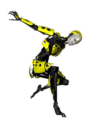 3D rendering of a male robot dancing isolated on white background Stock Photo