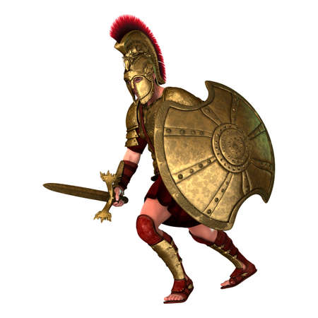 3D rendering of a Spartan warrior in armor holding a sword and a shield isolated on white background