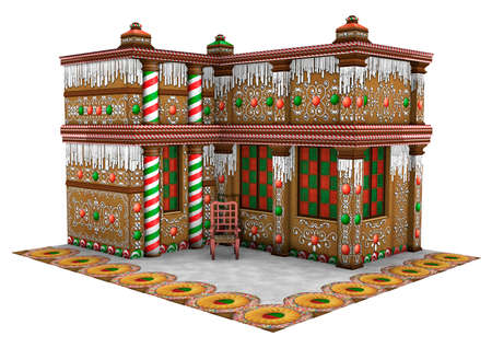 3D rendering of a Christmas gingerbread house isolated on white background Stock Photo
