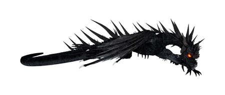3D-weergave van een zwarte draak geïsoleerd op een witte achtergrond