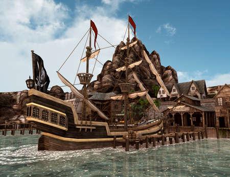 Rendering 3D di una Treasure Treasure Island Archivio Fotografico - 85163978