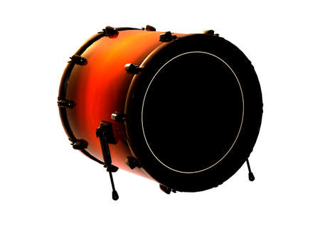 3D rendering of a bass drum or a kick drum isolated on white background