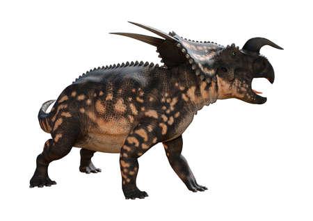 흰 배경에 고립 된 공룡 Einiosaurus의 3D 렌더링