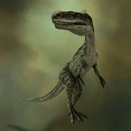 3D rendering of a dinosaur Monolophosaurus on green background