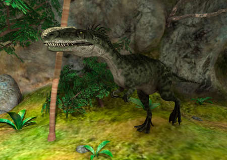 3D rendering of a dinosaur Monolophosaurus in a green forest Banco de Imagens