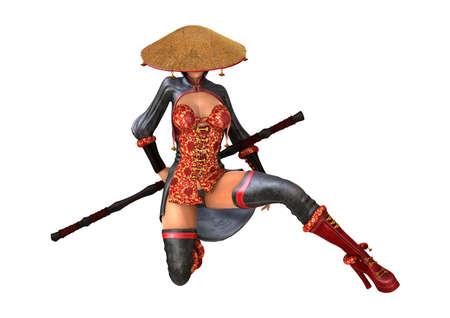 Het 3D teruggeven van een mooie Aziatische die gevechtsvrouw op witte achtergrond wordt geïsoleerd