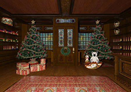3D rendering of a beautiful Christmas trees and lots of children's toys in a cozy room on the background of windows with light and snow reflections