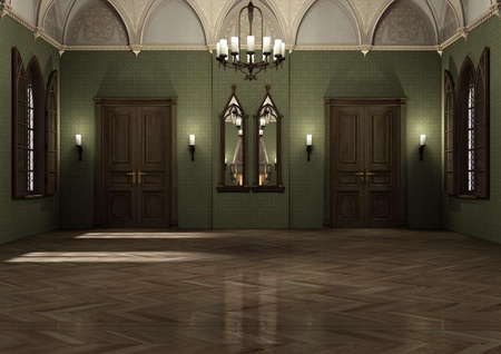 3D rendering of a gothic medieval style dark palace 스톡 콘텐츠