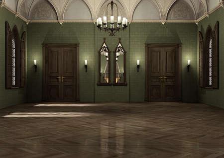 Rappresentazione 3D di un palazzo scuro gotico di stile medievale Archivio Fotografico - 91200737