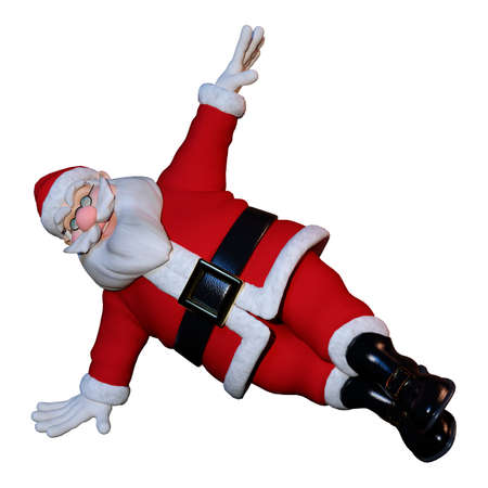 3D rendering of Christmas Santa exercising isolated on white background