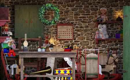 3D rendering of a Santas Christmas workshop