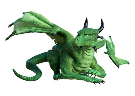 3D rendering of a green fantasy dragon isolated on white background Stock Photo - 96659656