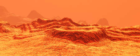 3D rendering of a red planet Mars landscape Stock Photo