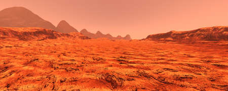 3D rendering of a red planet Mars landscape Banco de Imagens
