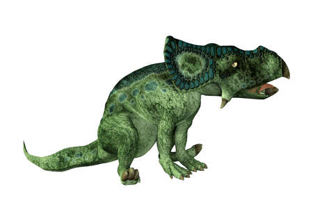 3D rendering of a dinosaur Protoceratops isolated on white background Stok Fotoğraf